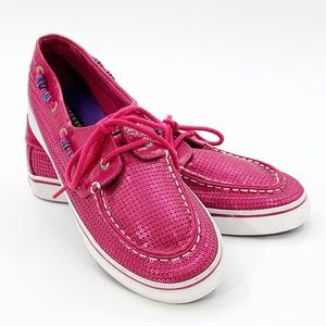 Sperry Womens Size 5.5 Pink Sequined Boat Shoes